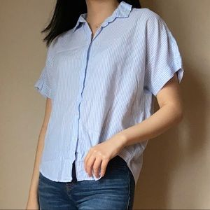 Striped shirt sleeve cotton blouse